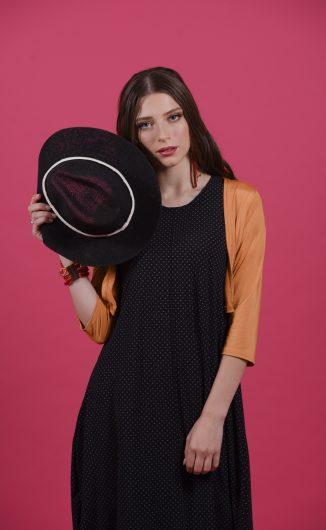 שמלת אניטה - שחור עיגולים