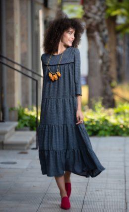 שמלת אילה – שחור משבצות