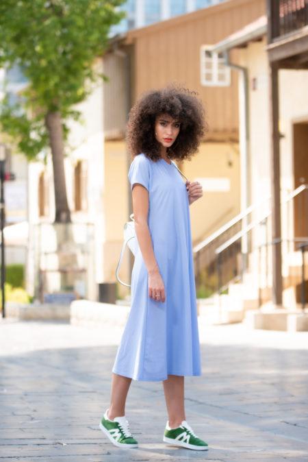 שמלת בטי – הדפס תכלת