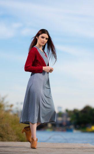 שמלת שבות - הדפס אפור