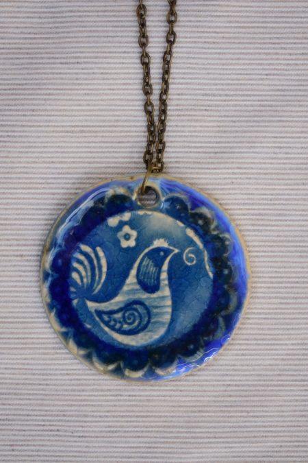 שרשרת קרמיקה עם הטבעה ציפור כחול