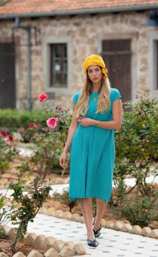 שמלת יערה - טורקיז פסים