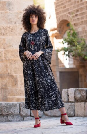 שמלת דפנה - הדפס שחור