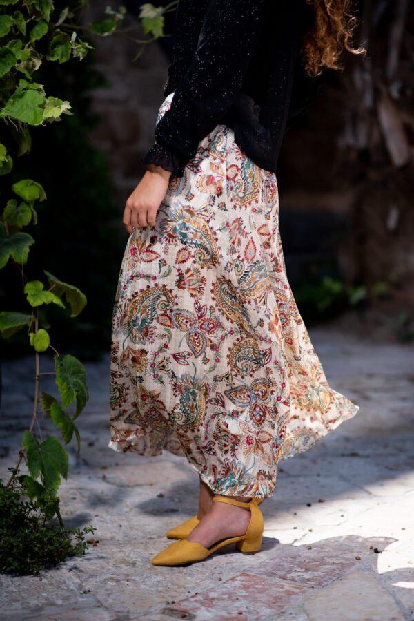 חצאית דקל - הדפס צבעוני